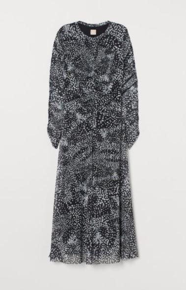 H&M drapowana sukienka z siateczki